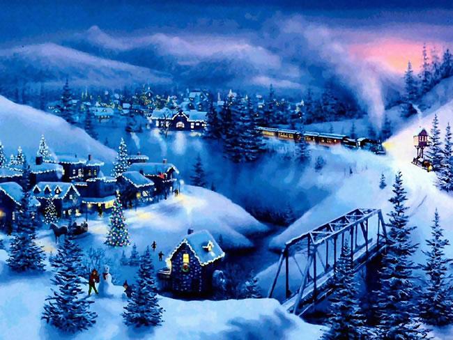 Immagine Paesaggio di Natale: Paesaggio Natalizio con treno
