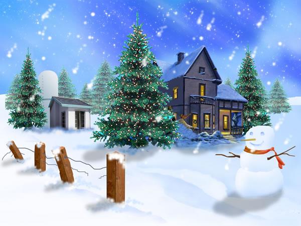 Immagine Paesaggio di Natale: Pupazzo di Neve con paesaggio