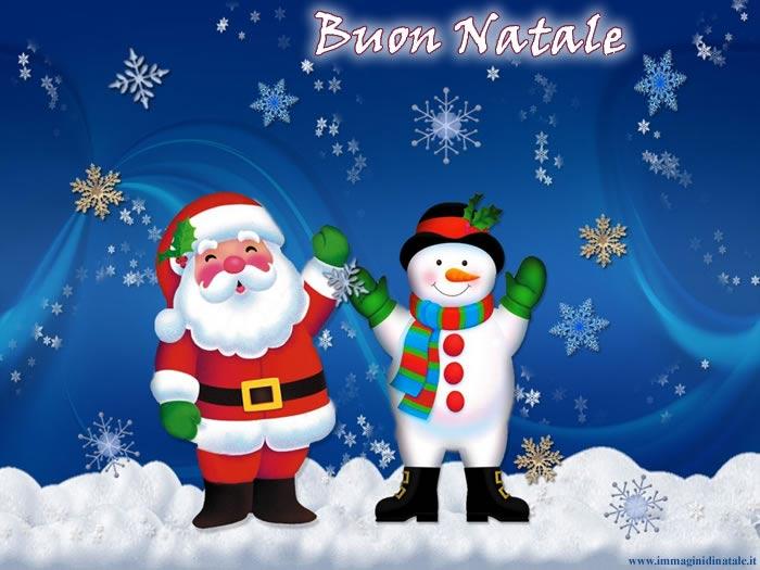 Immagini Babbo Natale: Babbo natale e pupazzo di neve