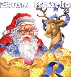 Immagini Babbo Natale: Babbo Natale e renna stupiti