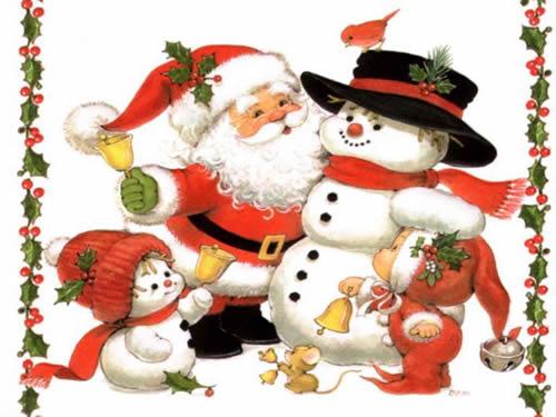Immagini di Natale Babbo Natale e Pupazzo di neve